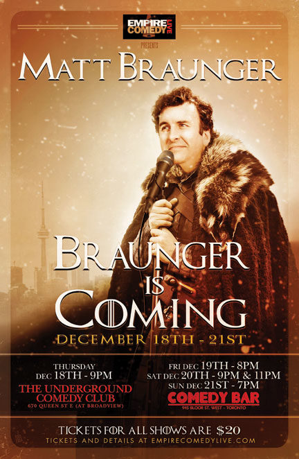 Braunger is Coming……..By Popular Demand